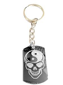 Sugar Skull Yin Yang Brain Tattoo Face Logo Symbols - Metal Ring Key Chain Keychain