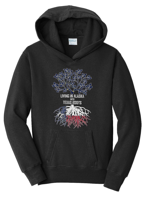 Tenacitee Girls Living in Alaska with Texas Roots Hooded Sweatshirt