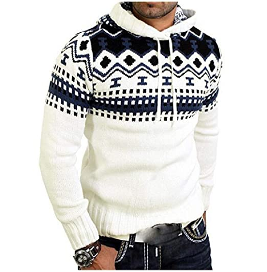 Mens Folk Style Print Hooded Casual Pullover Sweater Tops