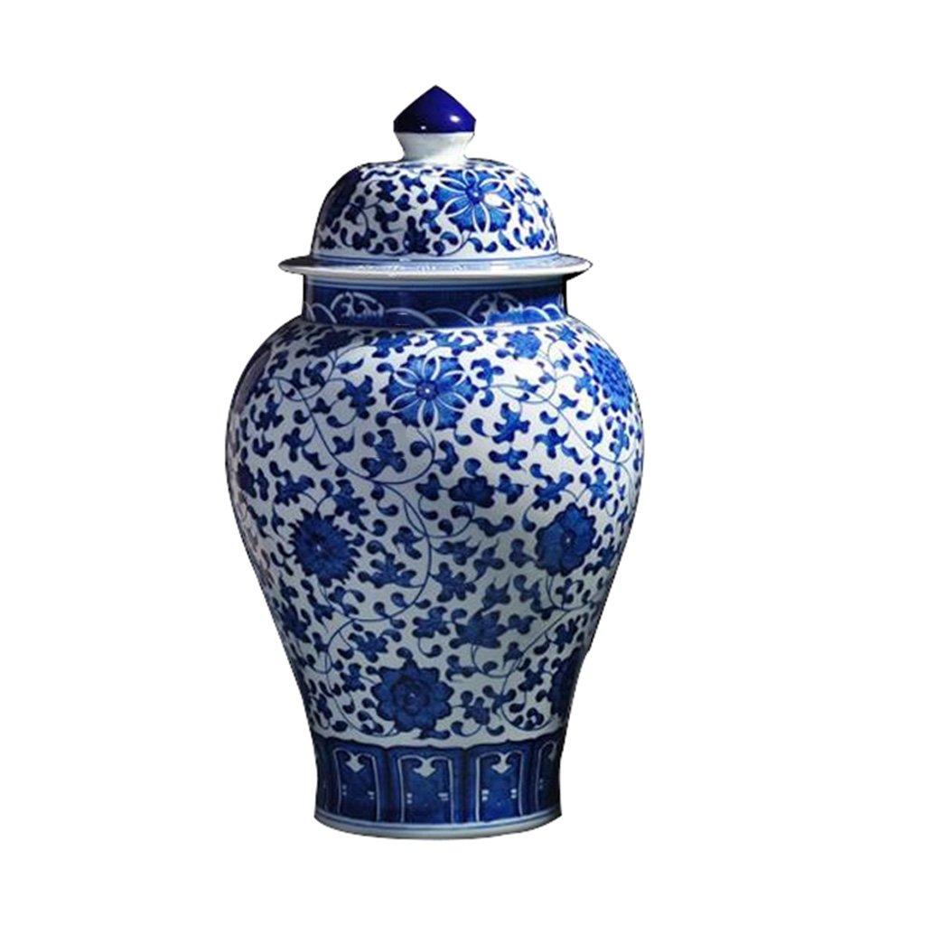Peacefre 青と白の磁器の花瓶セラミック装飾のリビングルーム古いアンティーク手描きの景徳鎮セラミック花瓶の家の装飾 B07DYNHFTB