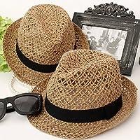 Fashion Summer Beach Sun Straw Hat Women Mens Fedora Wide Brim Trilby  Panama Cap f73d14c743ea