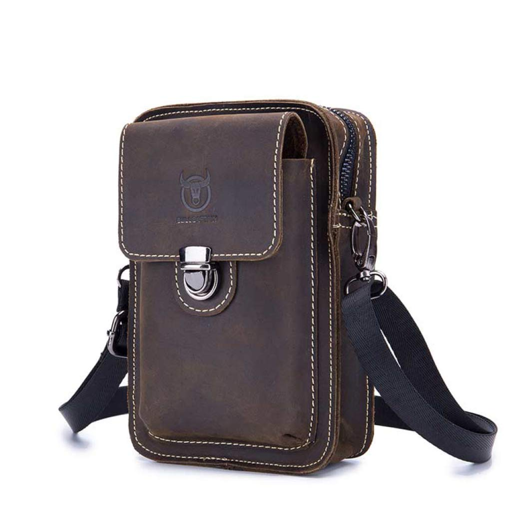 Phil Betty Mens Waist Pack Genuine Leather Multi-Functional Small Passport Money Phone Pouch Crossbody Pack by Phil Betty