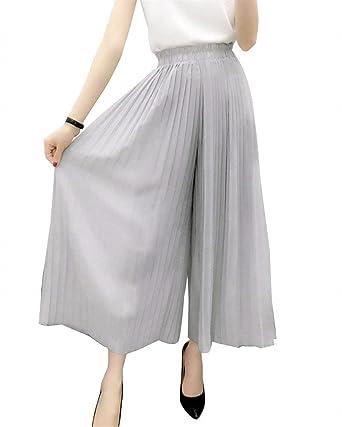 Mujer Elegantes Pantalones Falda Primavera Verano Chiffon ...