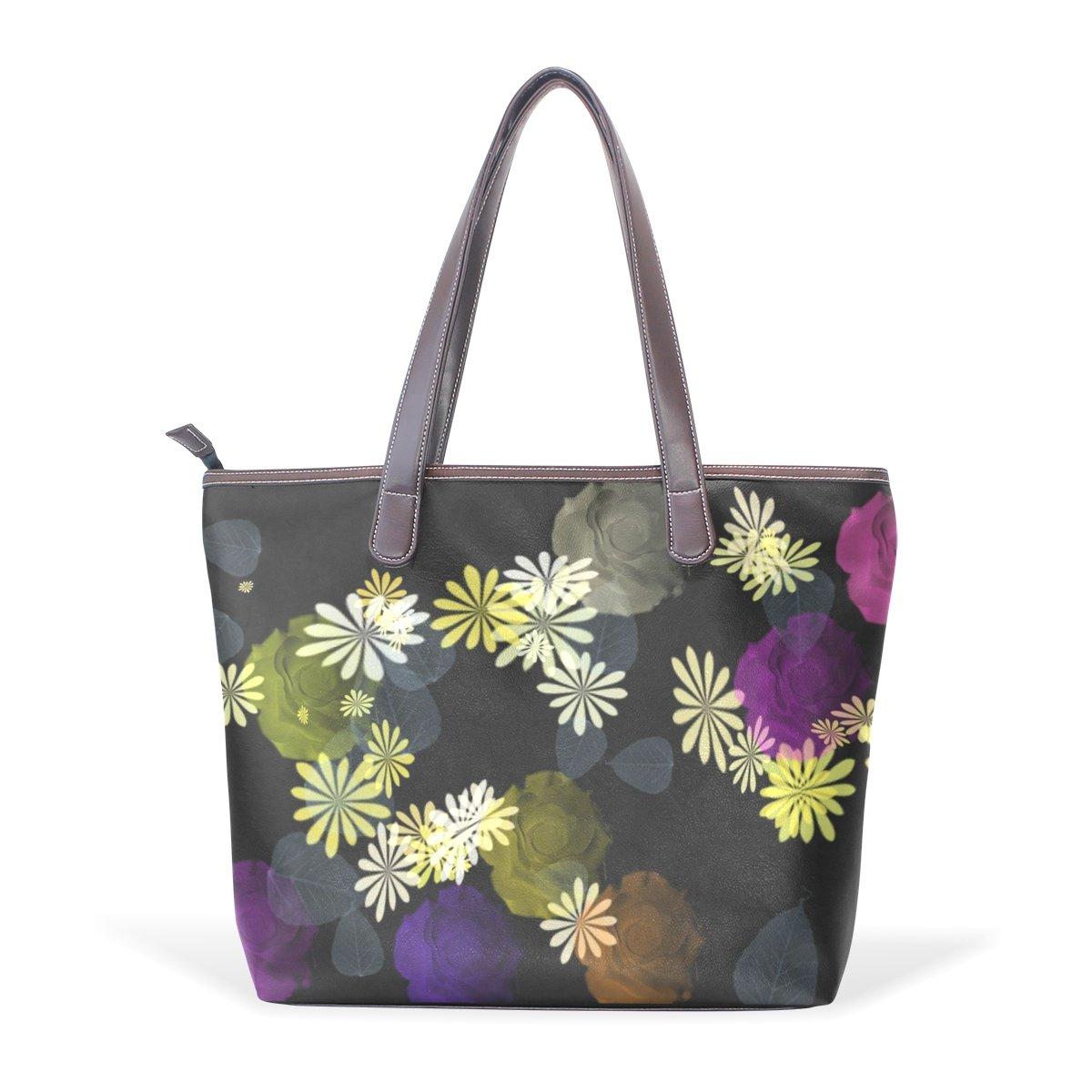 Ye Store Daisy Lady PU Leather Handbag Tote Bag Shoulder Bag Shopping Bag
