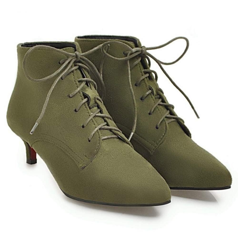 NIGHTCHERRY Women Fashion Kitten Heel Ankle Boots Lace up