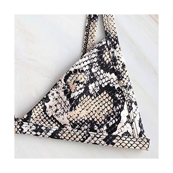 ZAFUL - Bikini da donna in pelle di serpente, leopardato, con stampa a V profonda, taglio alto 7 spesavip