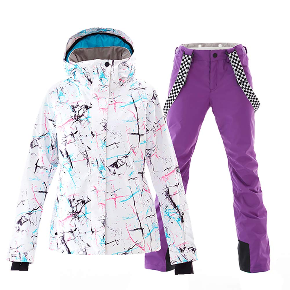 White+purple Mous One Women's Waterproof Ski Jacket colorful Snowboard Jacket and Bib Pant Suit