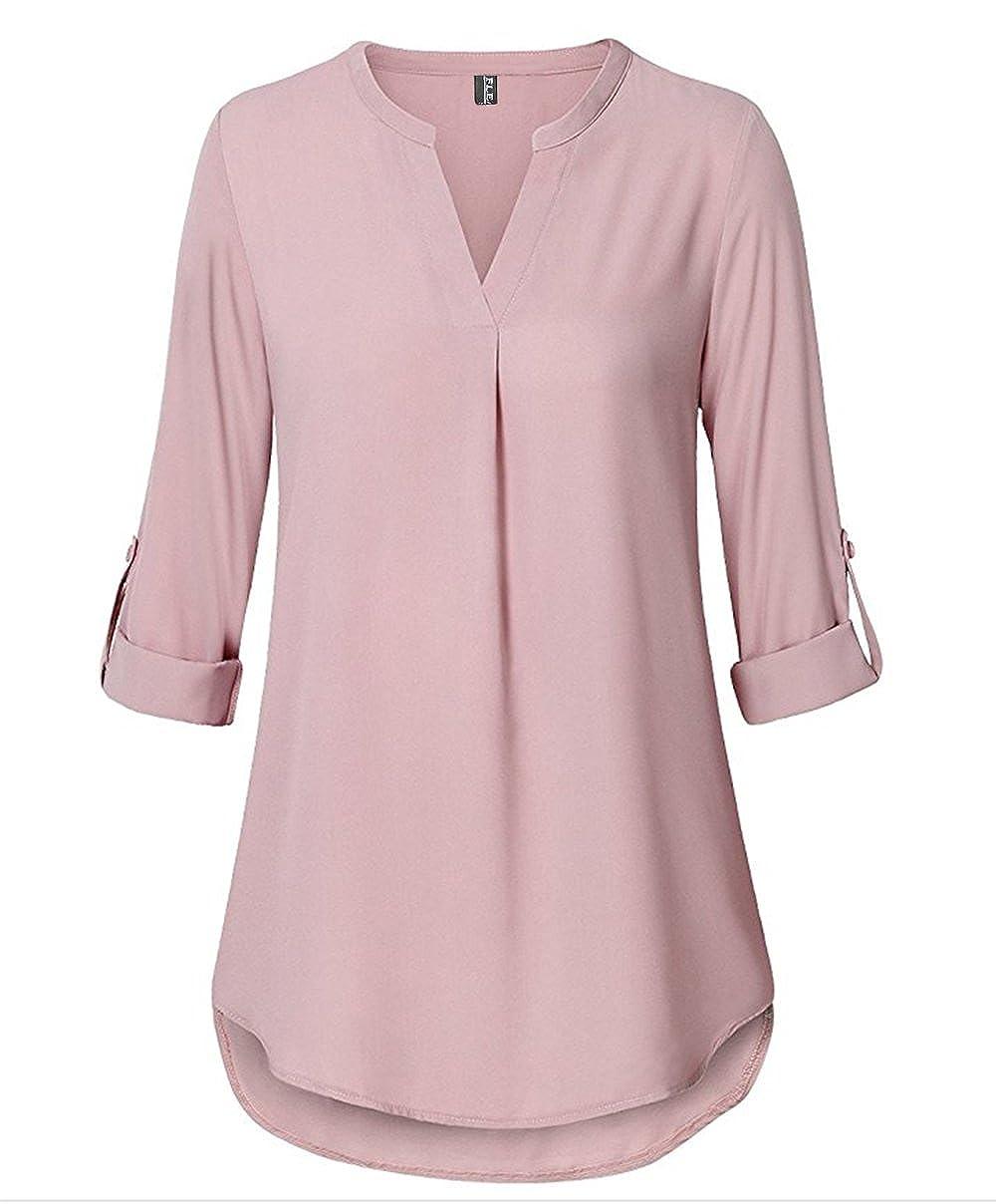 Fleasee Damen Einfarbig Chiffon Bluse V-Ausschnitt Elegante Langarm Tunika Casual Top mit 3/4 Ärmel Locker F7100
