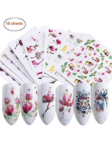 8e5ced6d1d39 Nail Stickers Set Nail Art Self-Adhesive Watermark Stickers Nail Water  Transfer Applique with Flamingo
