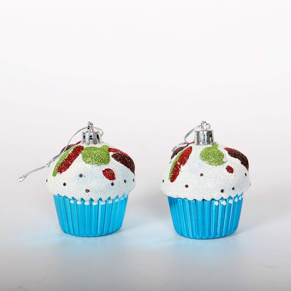 Feiliandajj 6pcs Weihnachtsbaum Anhanger Cupcake Christbaumschmuck