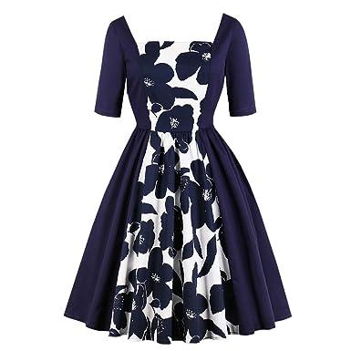 c871f3fce347c E-girl EM1697 Women Plus Size A Line Rockabilly Dress Short Sleeve Square  Collar Swing Party Midi Dress: Amazon.co.uk: Clothing