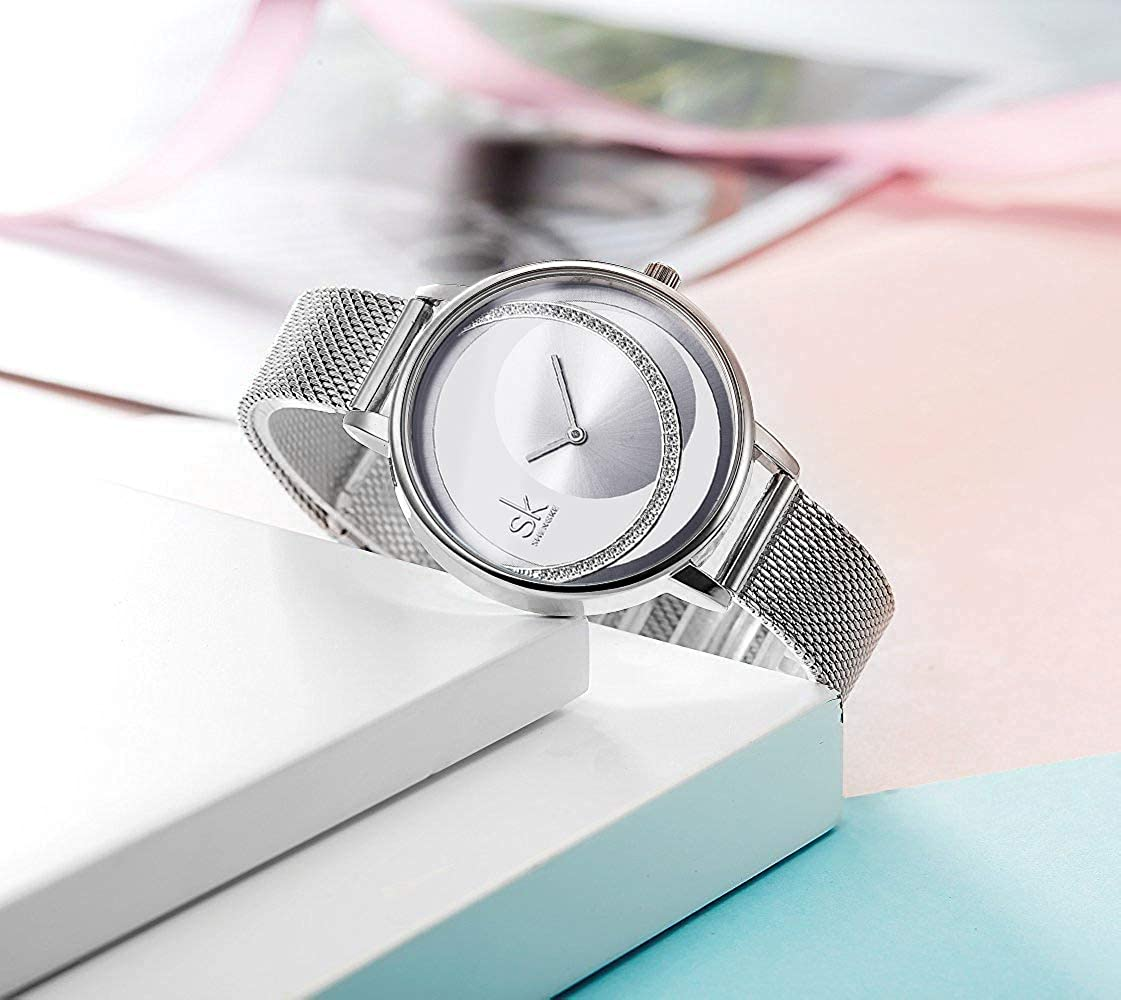 Amazon.com: SK Women Watch Fashion Quartz Ladies Stainless Steel Watches Case Female Waterproof Mesh Watches (K0088-SR-SR-SS): Watches