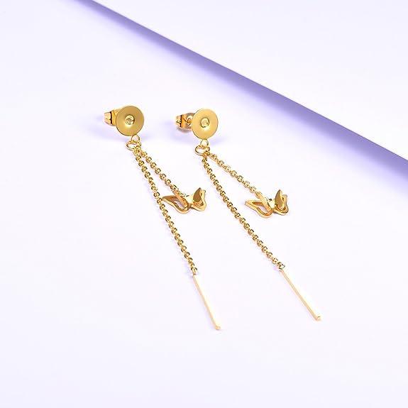 FOCALOOK Stainless Steel Chain Dangle Drop Earring, Long Tassel Earring for Women Hypoallergenic, Gift Packaging
