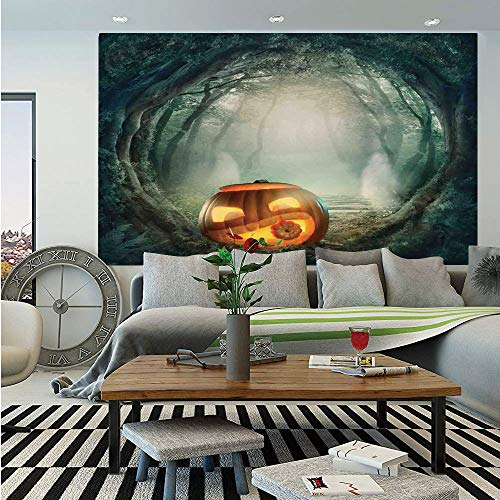 SoSung Halloween Decorations Removable Wall Mural,Scary Halloween Pumpkin Enchanted Forest Mystic Twilight Party Art,Self-Adhesive Large Wallpaper for Home Decor 66x96 inches,Orange Teal -