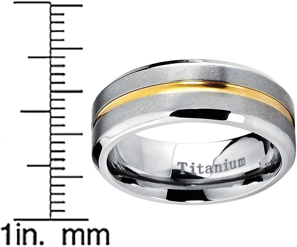 Int/érieur Confort 8mm Ultimate Metals Co Bague de Mariage Plaqu/é Or Titane Pour Homme