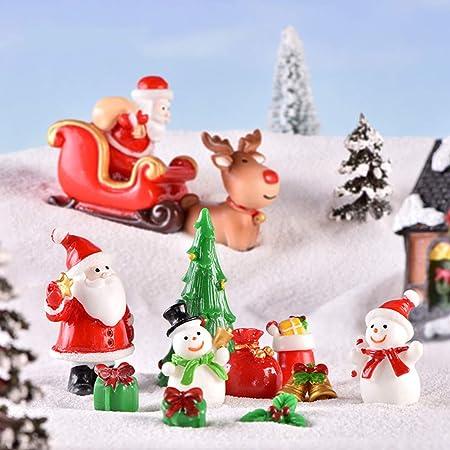 KingbeefLIU 1 Unid Resina Muñeco De Nieve Santa Calcetines Estatuilla Mini Artesanía Jardín De Hadas Decoración Bonsai Mini Simulación Decoración De La Cabina Estilo aleatorio Papá Noel #: Amazon.es: Hogar