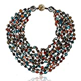 20 Inch Purple Orange Blue MultiColor Simulated Shell Pearls Multi-Strand Twist Necklace