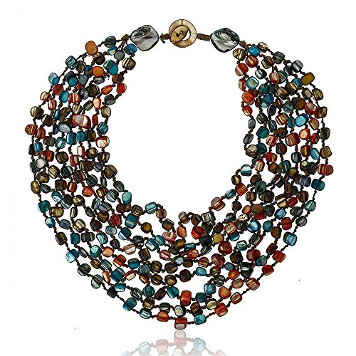 (Gem Stone King 20 Inch Multicolor Simulated Shell Pearls Multi-Strand Twist Necklace )