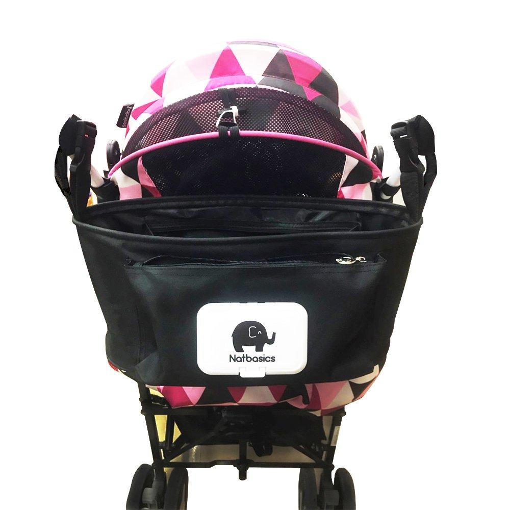 Schwarze RSPrime Praktische Baby Kinderwagentasche Kinderwagen Buggy Organizer Aufbewahrungstasche Babytasche Einkaufstasche Wickeltasche Multifunktionale Tasche