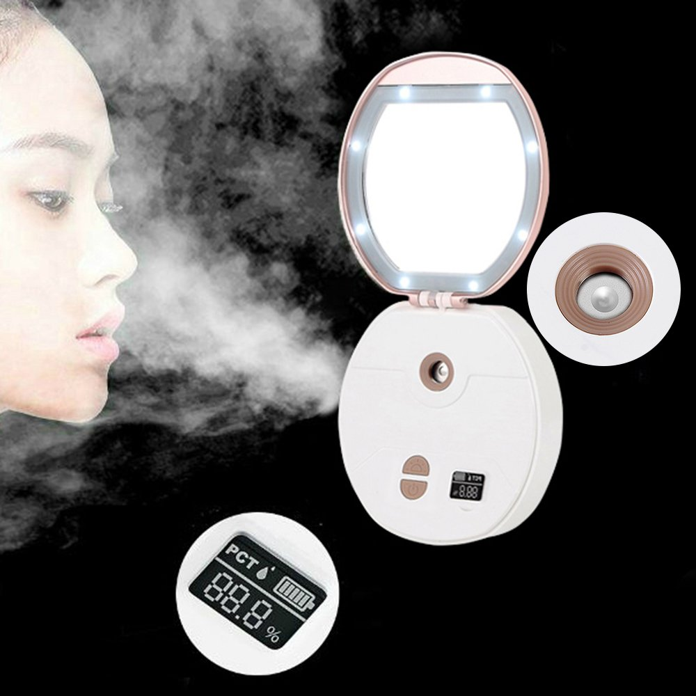 Face Mister LED Makeup Mirror,3 in 1 Portable USB Charging Moisture Detection Nano Cold Mist Sprayer WishLotus Multi-functional Humidifier Beauty Instrument for Men and Women