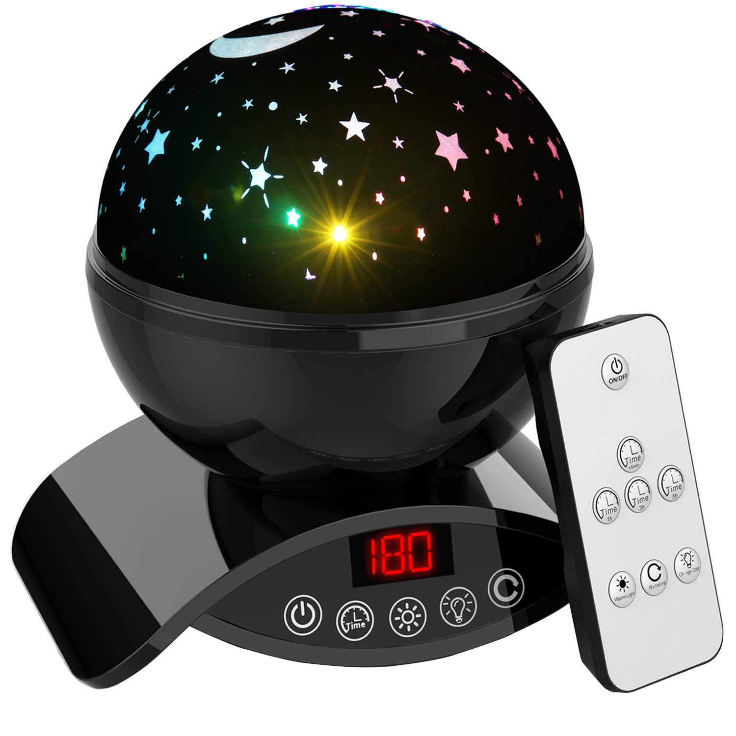Aisuo Lighting Lamp, Rotating Star Projection with Auto Shut Off Timer, 7 Color Options, Rechargeable Lithium Battery & Dimmable Function, Ideal Gift for Kids, Children, Friends. (Black)