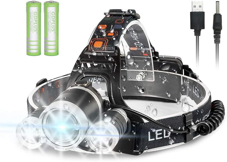 Andar en Bicicleta Ajustable y C/ómodo de Llevar Frontal LED Impermeable para Correr Linterna Cabeza Acampar Newlemo Linterna Frontal Linterna LED Recargable Cabeza con 3 Luces 4 Modos Pescar