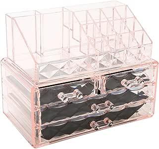 Diamond Pattern Jewelry Cajas de exhibici/ón de almacenamiento cosm/ético display Cuarto de ba/ño Vanity Organizer Regalo de vacaciones Maquillaje cosm/ético Transparente