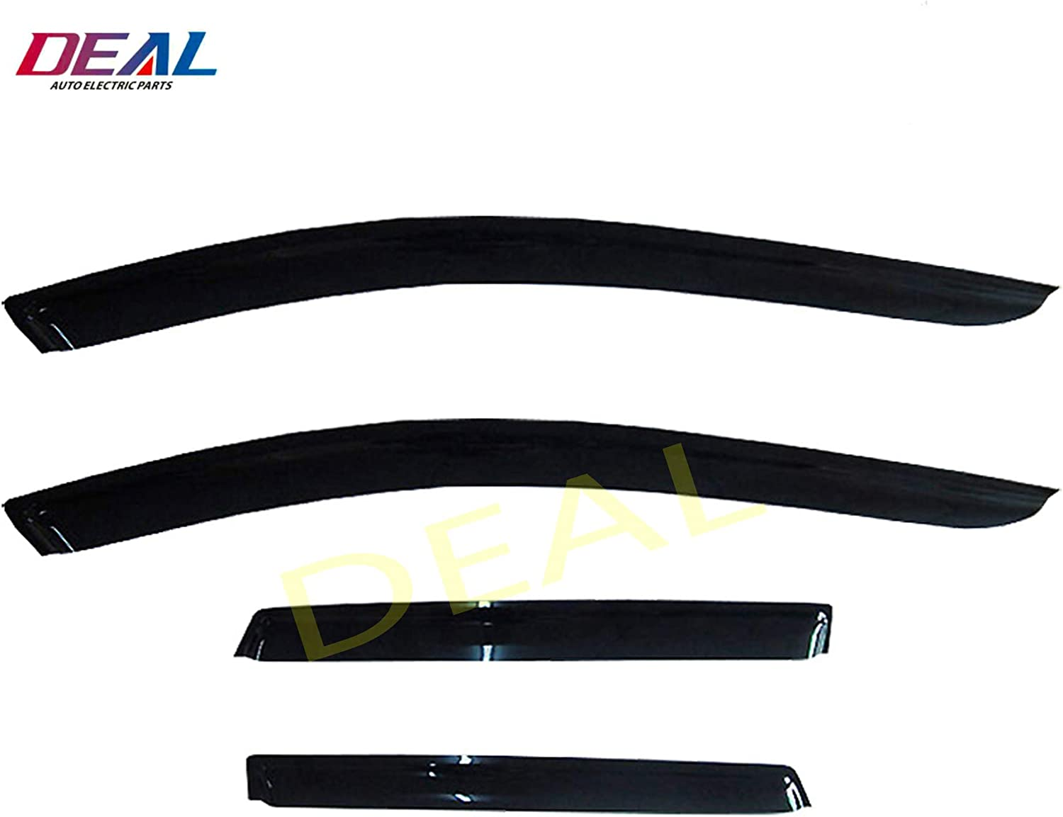 DEAL 4-Piece Set Vent Smoke Window Visor Side Window Sun Rain Guard With Outside Mount Tape-On Type 2007-2015 Lincoln MKX Custom Fit For 2007-2014 Ford Edge
