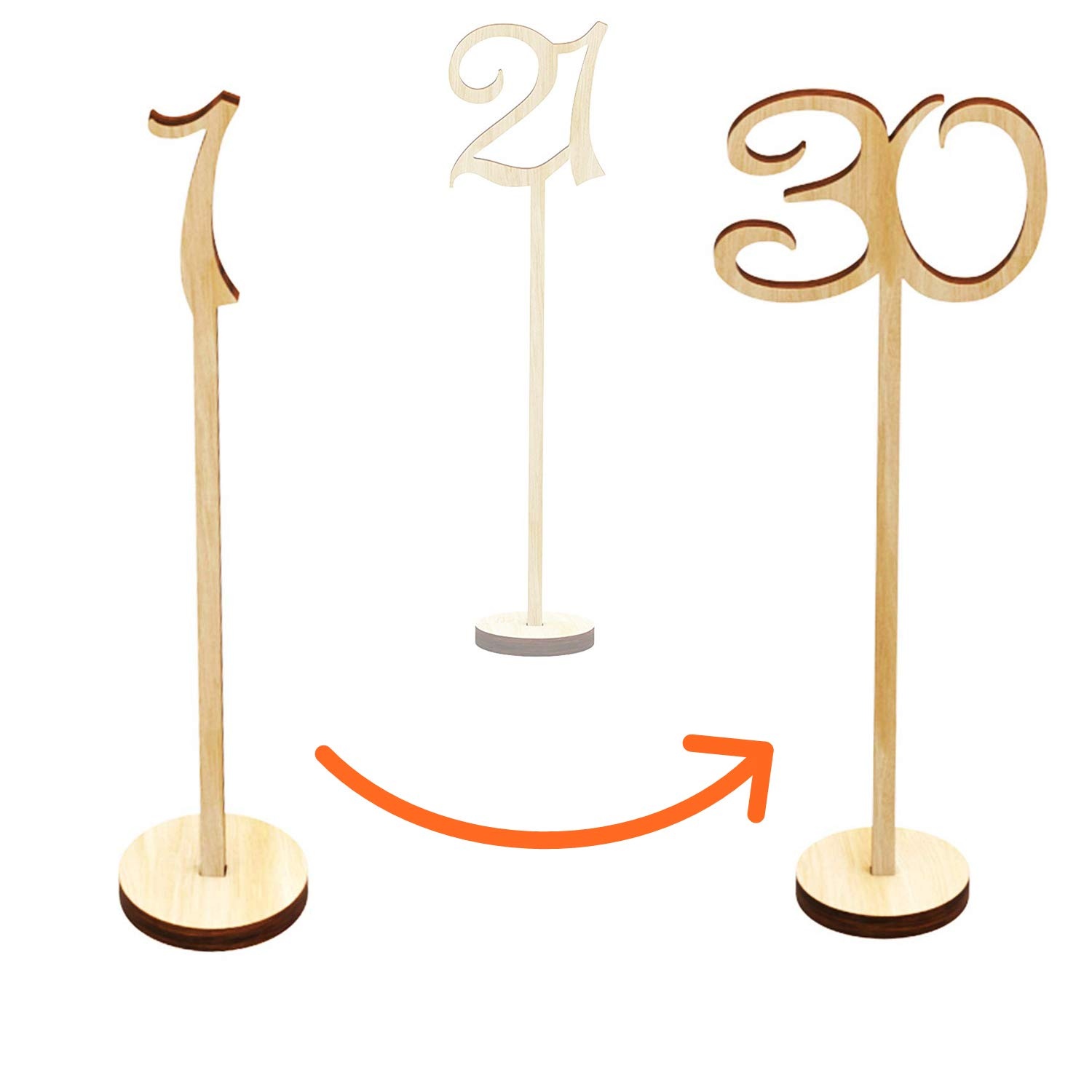 goldblue Wooden Table Numbers 1-30 Wedding Decor Centerpieces Thick Heavy Duty Tall Natural Signs Holder Best for Receptions, Banquets, Cafés, Restaurants, Hotels, Parties by goldblue