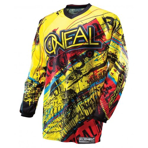 O'Neal Element MX Jersey ACID gelb rot Enduro Moto Cross Motorrad Shirt, 0016A-50, Größe Medium