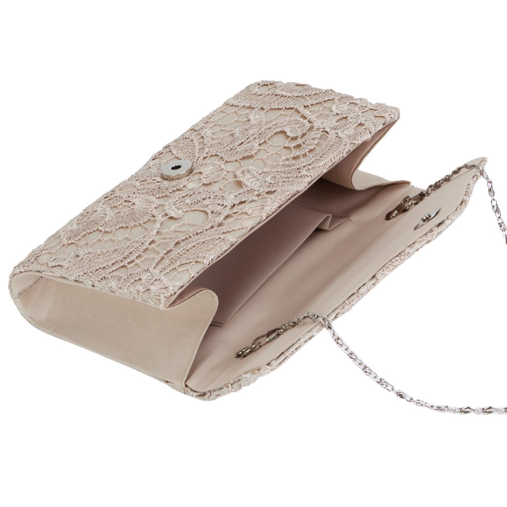 Ladies Satin Lace Envelope Clutch Bag Clorislove Evening Shoulder Bag for Bridal Wedding Handbag Prom Bag