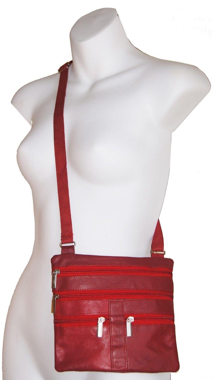 Red Ladies Genuine Leather Cross Body Bag Satchel Messenger Bag 48'' Strap