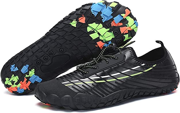 DierCosy - Zapatillas Deportivas náuticas Unisex rápidas de Calcetines Secos Vibram Cordones Zapatos de Playa, Negro (Negro), 46 EU: Amazon.es: Zapatos y complementos