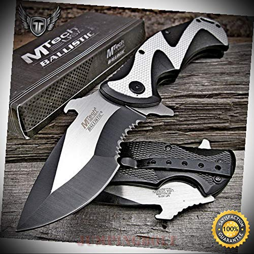 (Spring Assisted Ballistic EDC Folding Pocket Sharp Knife MT-A916SB - Premium Quality Hunting Very Sharp EMT EDC)