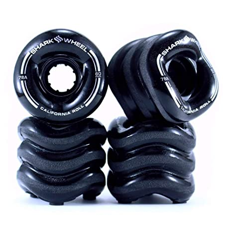 Shark Wheel California Roll 60mm 78A Small Skateboard//Longboard Wheels Black