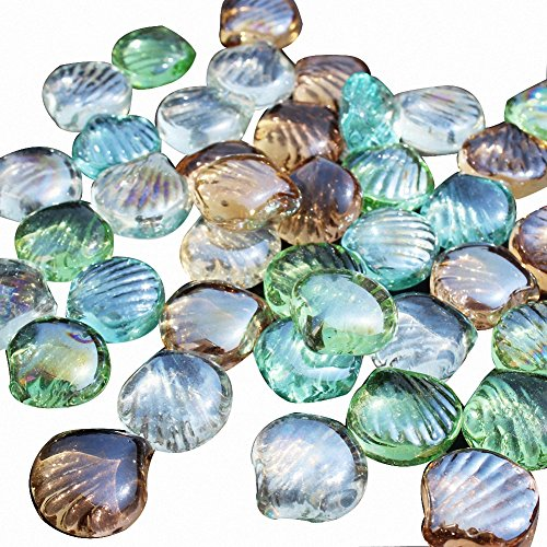 OMEM Aquarium Stone Decorations Mixed Color Crystal Glass Stone Scallop, Aquarium Fish Tank Gravel Decorations,Gravel Pebble,Aquarium Decor (2.2 Lb(1KG))