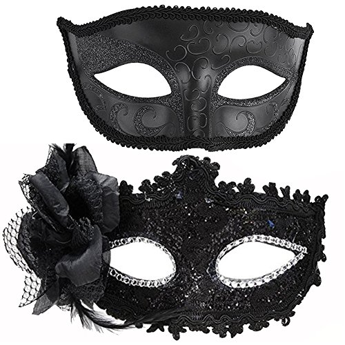 7Queen Halloween Venetian Couple Masks for Masquerade Mardi Gras Adult Party Handmade Black Mesh Flower Rhinestone DecorationParty Favor ()