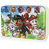 100 Piece Paw Patrol Puzzles for Kids Ages 4-8 Jigsaw Puzzle for Children Learning Education Metal Box