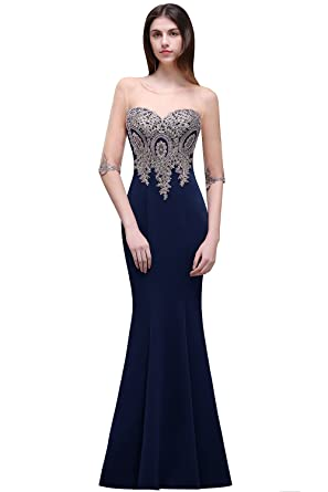 Womens Lace Applique Long Formal Mermaid Evening Prom Dresses (Dark Navy ...