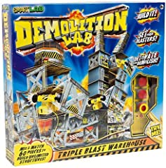 Ka-boomup. The mind-blowing Demolition Lab lets kids build unlimited warehouse structures and then demolish them with strategically placed blasters, all while getting inside the science of energy, momentum and gravity up. Includes Triple-blas...