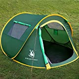 Cheap HUI LINGYANG Outdoor Three Person Pop Up Camping Tent – Easy, Automatic Setup -Ideal Shelter for Casual Family Camping Hiking, Amy Green