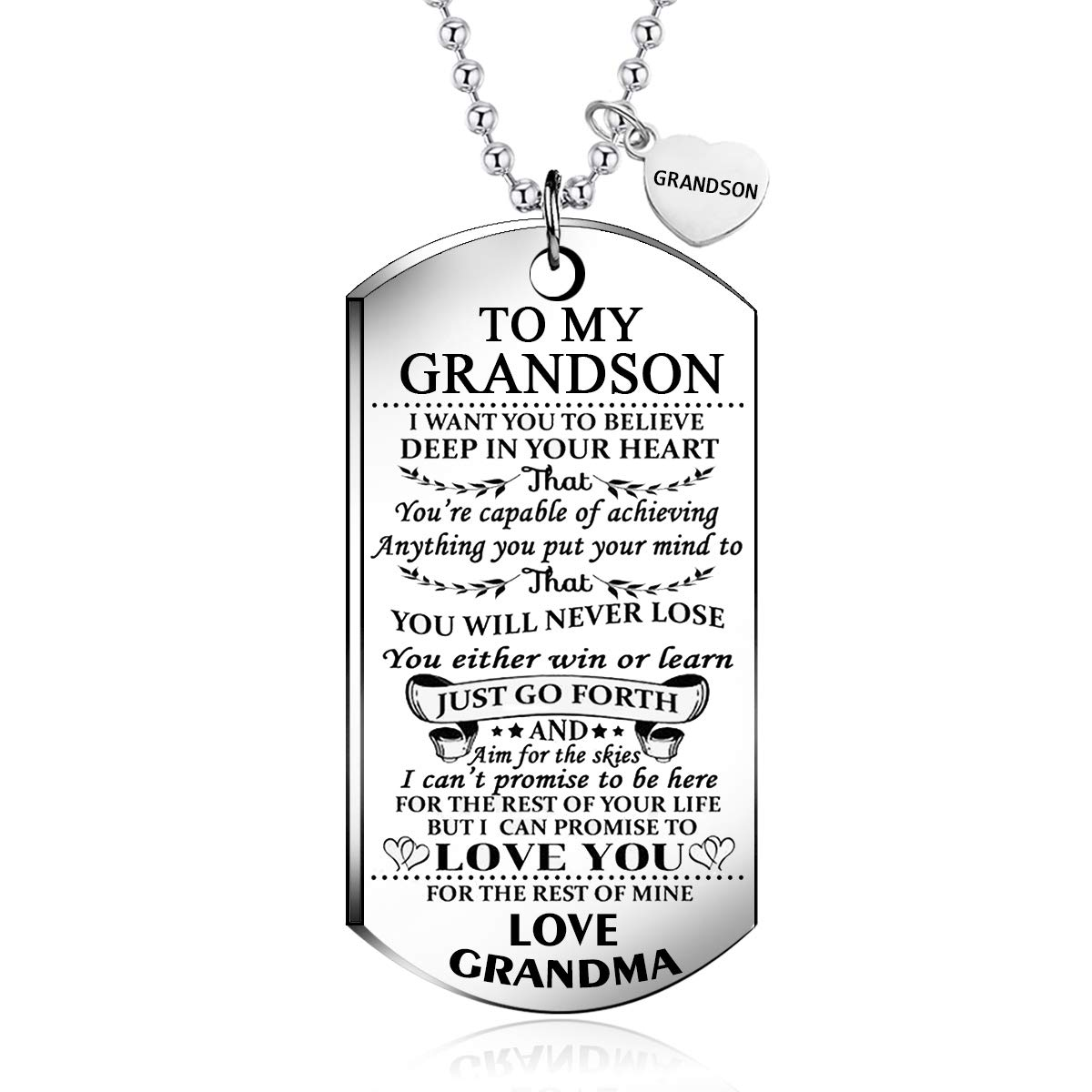 NOVLOVE to My Grandson from Grandma I Want You to Believe Love Mom Dog Tag Military Air Force Navy Coast Guard Necklace Ball Chain Gift for Best Son Birthday and Graduation