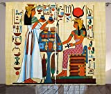 Cheap Ambesonne Retro Curtains, Papyrus Design with Elements of Ancient Egyptian History Antique Artful Illustration, Living Room Bedroom Window Drapes 2 Panel Set, 108 W X 96 L Inches, Multicolor