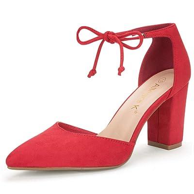 Allegra K Women's Ankle Tie Point Toe Dress Pumps | Pumps