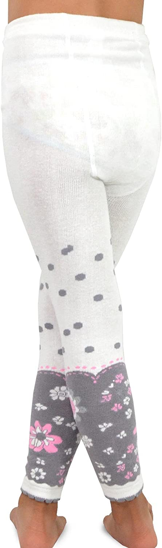 TeeHee Kids Girls Fashion Cotton Leggings Footless Tights // Girls Fleece Inner Brushed Leggings 3 Pack