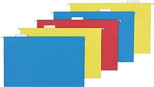 AmazonBasics Hanging Folders, Legal Size, Assorted (Blue, Red, Yellow), 25 Per Box