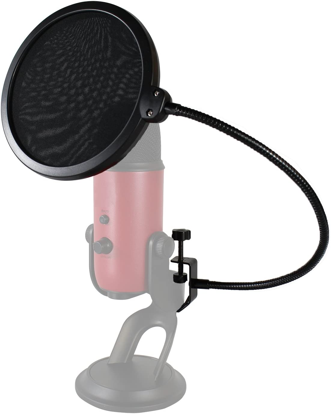 HDE Microphone Pop Filter for Blue Yeti - Dual Layer Studio Mic Wind Screen with Stand Clip and 360 Degree Gooseneck Arm