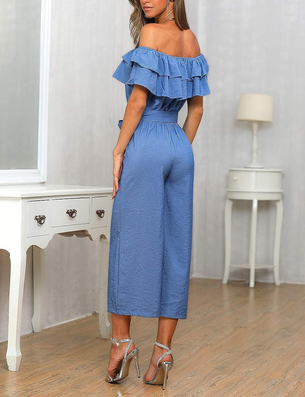 MISOMEE Women Summer Off Shoulder Ruffles Wide Leg Jumpsuit L Blue