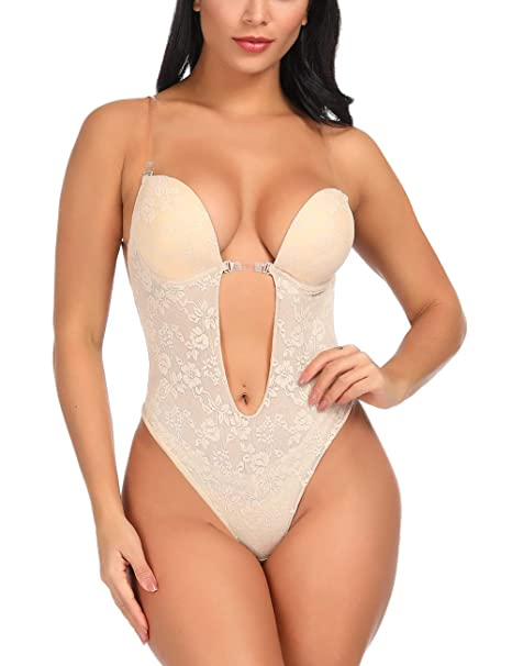 43efcc042 Lover-Beauty Women s Deep V Bodysuit Backless Shapewear U Plunge Seamless  Thong Body Shaper Shapewear at Amazon Women s Clothing store