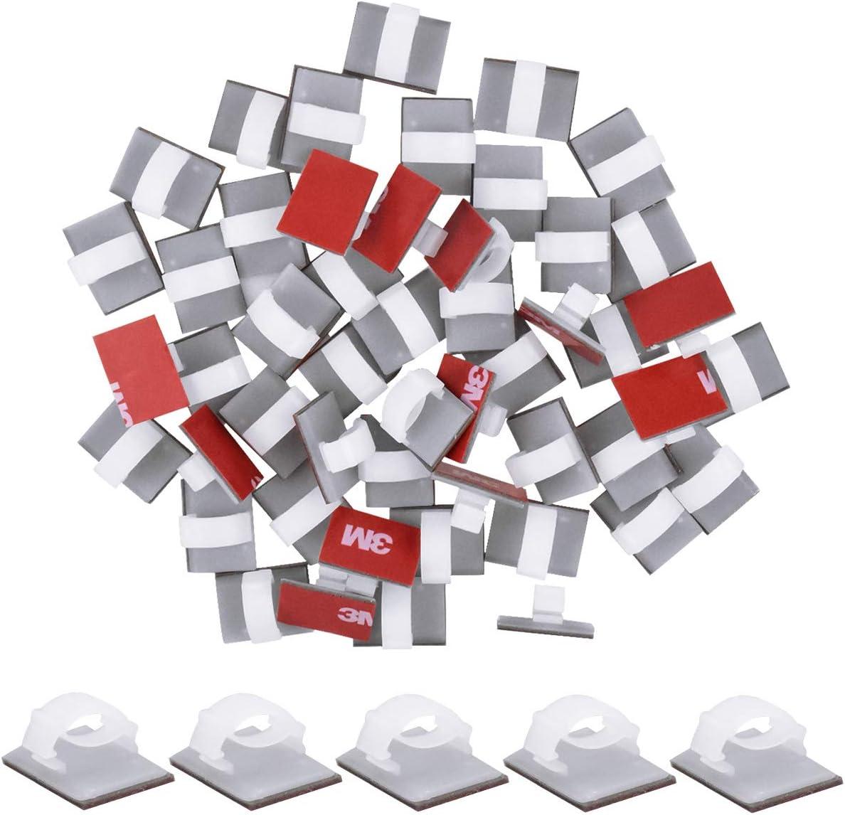 Bureau et Maison HQdeal 50 Pi/èces Attache-C/âbles Autocollants Attache-C/âbles en Plastique Rectangle Clips de Fils pour la Gestion des Fils Serre-C/âble pour Voiture Blanc